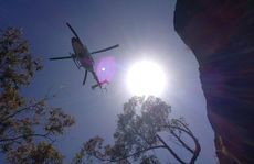 The AGL Action Rescue Helicopter attending Mt Tibrogargan.