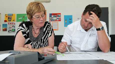 Maraekakaho School principal Phil Jones, seen here with office manager Donna Potter, is one of many Hawke's Bay principals fed up at problems with the Ministry of Education payroll system, Novopay.  Photo / Duncan Brown