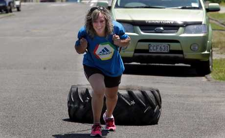 TIRED OUT? NEVER! Anjelica McGuckin training outside her home.    PHOTOS/STUART MUNRO 131212WCSMANJELICA - MCGU(2)A