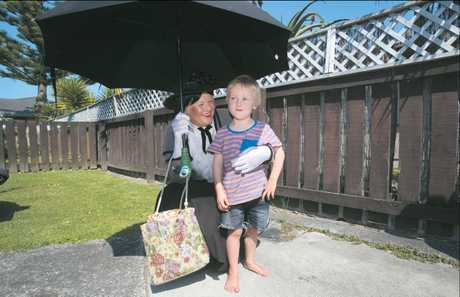 Glynis Winton, aka Mary Poppins, surprises 5-year-old Max Necklen with tickets to the Mary Poppins Musical in Auckland.