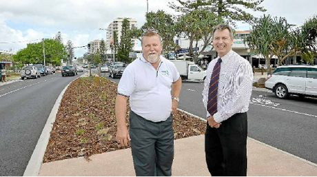 ITS FINISHED: Coolum business leader Noel Mooney (left) and local councillor Steve Robinson.