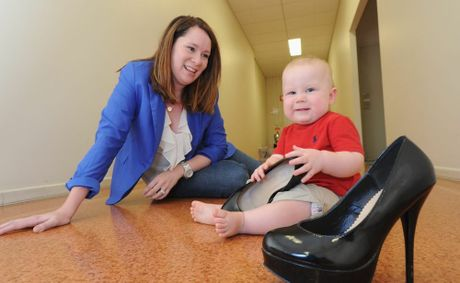 Marketing manager Erin Sorrensen wore heels up until she was eight months pregnant with her first child, Henry, when she started to feel her balance was affected by wearing the sky-high shoes.