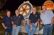 Rotary Club of Murgon's Mark Quinn, Ross Wessling, Phillip Braithwaite and Glenn Capernick man the Rotary spinning wheel.