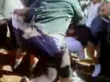 Image of a school fight taken from a video on YouTube.