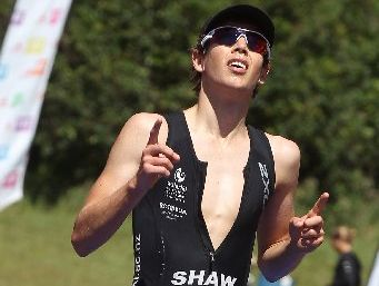 Rotorua's Oliver Shaw finishes just seconds behind the Rotorua Half Ironman winner. Photo / Stephen Parker