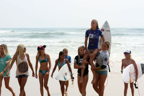 Isabella Nichols celebrates her win as Rip Curl Grom Search national under 16 winner. Photo Contributed
