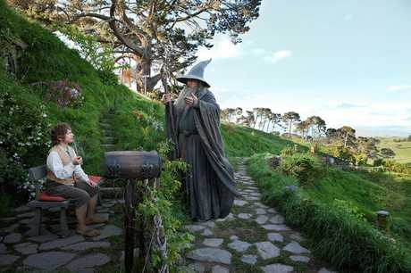 SPECIAL EVENT: Gandalf the Wizard (actor Sir Ian McKellen) counsels Bilbo Baggins (Martin Freeman) in a scene from The Hobbit: An Unexpected Journey.