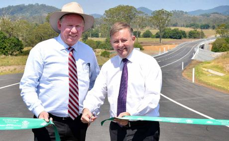 Acting Queensland Premier Jeff Seeney and Federal Transport Minister Anthony Albanese, on the Mary Valley link road at Traveston Crossing, yesterday formally opened the Bruce Hwy upgrade from Sankeys Rd to Traveston.