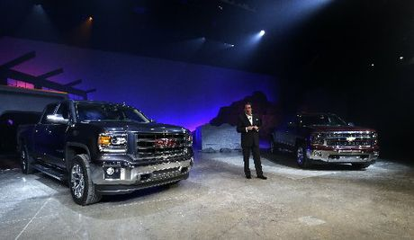 GM's Mark Reuss at the launch of the revamped GMC Sierra and Chevrolet Silverado in Pontiac, Michigan. Picture / AP
