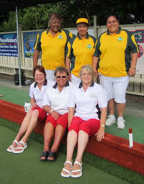 SHOWDOWN: BFN Centre women's triples finalists, from back left, Gloria Bevin, Viv Kahi, Tania Tana (Hokianga), and Dee Scott, Jo Hood and Faye Norman (Waitangi).