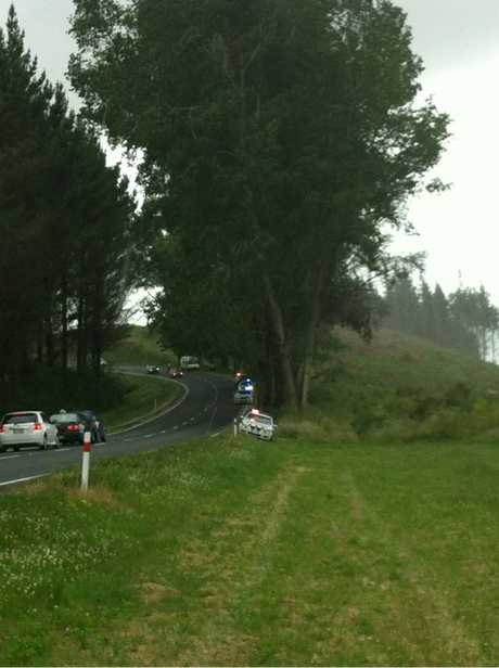 The scene on SH32 Whakamaru Rd.