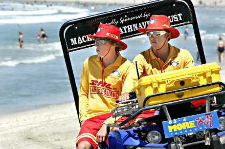 Lifeguards James Roy, left, and Sven Hodkinson on patrol at Mount Main Beach.