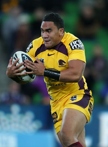 David Hala of the Broncos runs with the ball during the round 12 NRL match between the Melbourne Storm and the Brisbane Broncos at AAMI Park on May 25, 2012 in Melbourne, Australia.