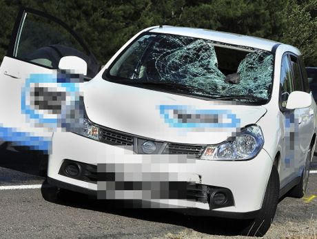 The smashed windscreen of a car after a collision between a cyclist and a car.