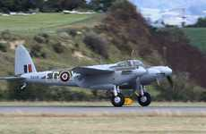 Touchdown at Tauranga Airport yesterday of the world's most comprehensively restored De Havilland Mosquito.