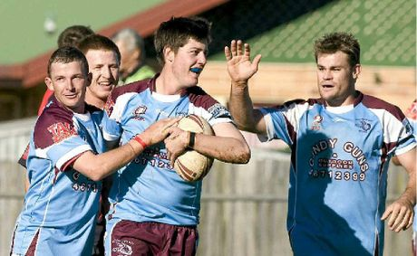 Goondiwindi&#39;s Michael Nielsen celebrates his try for Goondiwindi in a TRL rugby league game but Gundi could soon be apart of the BRL.