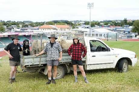 THAT'S COUNTRY: From left, farmers Steven and Fraser Laird, Sarge the dog and Cooks Gardens events manager Vallie Finlay have a big day out planned for February 6.PHOTO/RAE CLIFFE