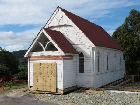 "The ""new"" St Paul's Church in position in Kawakawa, almost eight years after its predecessor burned down. Photo / Peter de Graaf"