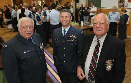 District of Napier 13 Squadron Air Training Corps (ATC) Flight Lieutenant Hardie Martin (left) and former officers Group Captain Darryn Webb with former World War II Spitfire pilot Max Collett of Napier.