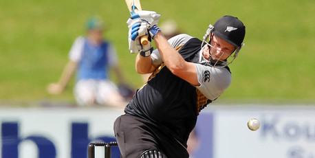 Colin Munro of New Zealand hits out during the T20 Tour match between South Africa A and New Zealand.