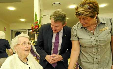 HOME SWEET HOME: Ballina Community Aged Care resident Nola Kilby with Ballina MP Don Page and Pam Osborne.