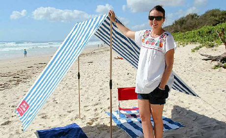 SUN SAFE: Sarah Causer with her Byron Bay Beach Shade.