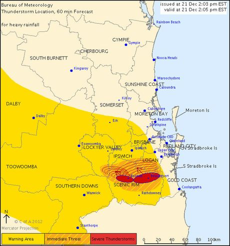 As of 2.05pm the storms were south of Boonah and expected to affect the area by 2.35pm and the Harrisville and Peak Crossing areas soon after 3pm.