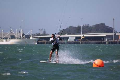 Mount Maunganui kiteboard racer Torrin Bright in action off Sulphur Point last weekend.