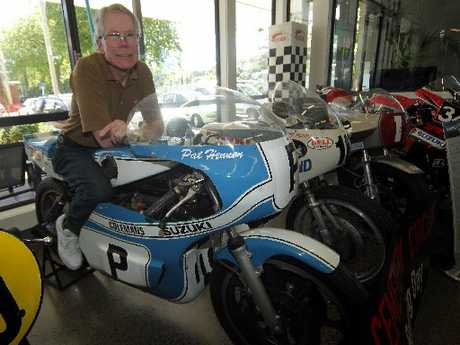 GLORY DAYS: Pat Hennen on the back of his old Suzuki from his victories on Wanganui's Cemetery Circuit. PHOTO/STUART MUNRO