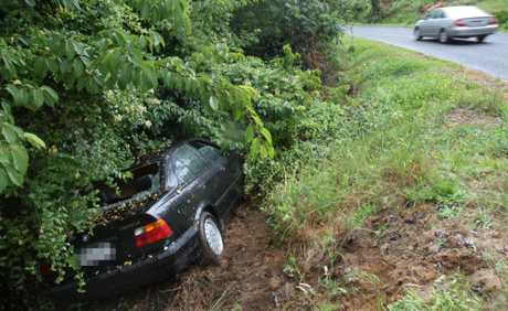 A car carrying an adults and two infants skidded off the road and down a bank on Minden Rd, Te Puna.