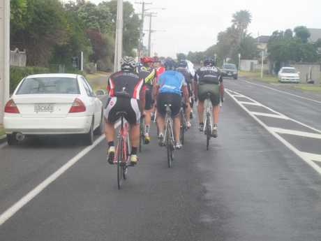 Cycling behaviour like that shown in this photograph has been criticised by other road users.