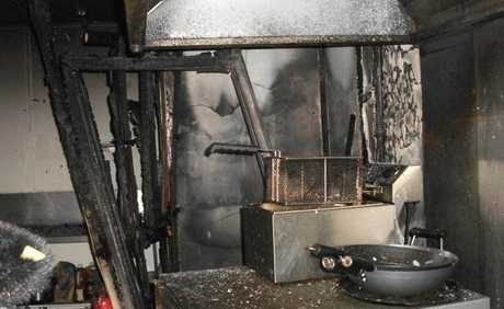 A fire at Howard on Sunday night damaged three shops in William St.