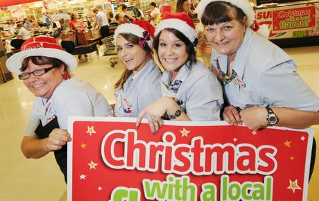 Gregs IGA staff members Allison Peters, Jana Hipperson, Ellyse Sheard and Gayle Lohse can still raise a smile even though they will be working on Christmas Day.