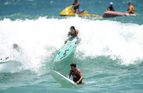 NO COMPLAINTS: Mooloolabas Ali Day ensures he stays on this shore break during yesterdays Nutri-Grain Ironman event at Scarborough Beach, Perth, yesterday.