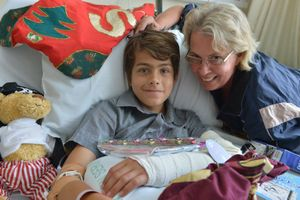 Jan Wedmaier with her son Shaun, 12 who spent Christmas day in hospital after breaking his wrist. Photo: John McCutcheon / Sunshine Coast Daily