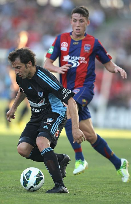 Alessandro Del Piero of Sydney in action during the round 12 A-League match between the Newcastle Jets and Sydney FC at Hunter Stadium on December 22, 2012 in Newcastle, Australia.