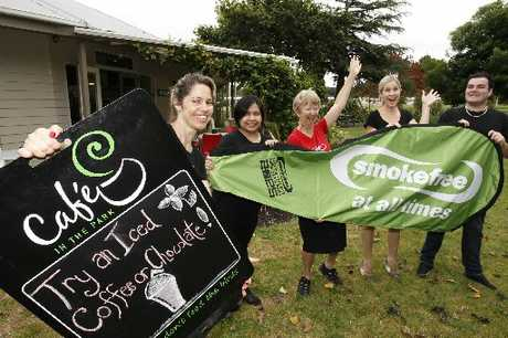 CLEAR AIR: Tarewa Park cafe staff Stephanie Saramet (left), Cherrylyn Buenaobra, Audrey Bennett, Charlotte Hawkins and Daniel Stewart celebrate being the first smokefree cafe in the country.
