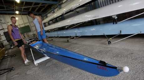 CHECK IT OUT: TJ (Tim) Leeming, Otago Rowing Club, and Whangarei&#39;s Edward Baddeley look over the new fours boat.