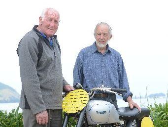 MACHINE: Dene Hollier (left) with Peter Pawson and his restored Triumph GP, a bike nearly identical to the one Hollier rode to victory in the inaugural Wanganui Cemetery Circuit street race in 1951.
