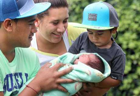 Rotorua parents Tofiga and Dana Daniel with their Christmas Day baby, Vailei, and 2-year-old son Alapati.