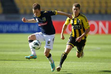 Michael McGlinchey of the Mariners controls the ball during the round 12 A-League match between the Wellington Phoenix and the Central Coast Mariners at Westpac Stadium on December 22, 2012 in Wellington, New Zealand.