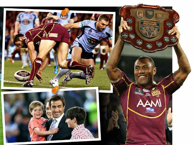 CLOCKWISE FROM TOP: Greg Inglis scores THAT try in Origin I, Petero Civoniceva shows off the Origin trophy, and Andrew Johns celebrates becoming an Immortal.