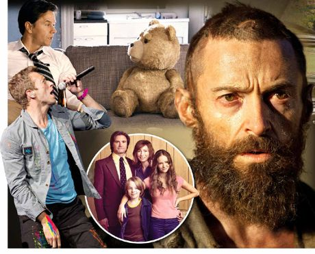 CLOCKWISE FROM TOP: Mark Wahlberg in Ted; Hugh Jackman in Les Miserables; TV's big hit remake Puberty Blues; lead singer from Cold Play Chris Martin.