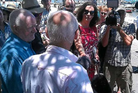 NEXT STEP: Noel Playford (far left), of the Noosa Independence Alliance, and Bob Ansett, of Friends of Noosa, speak to media after the Noosa referendum announcement.