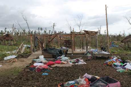 DESTRUCTION: The remains of one of countless Samoan homes destroyed by Cyclone Evan. 