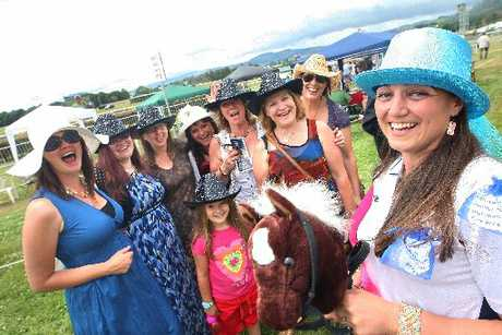 Claire Baines, right, held her hen party at the races yesterday.