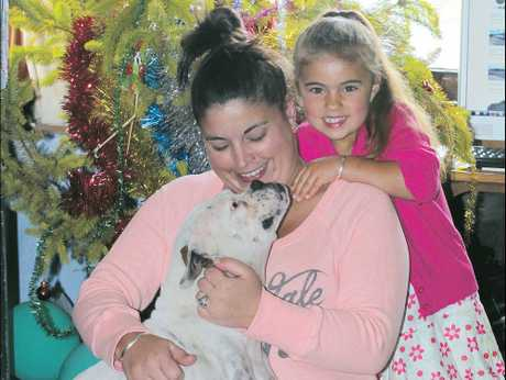 Shirleen Ashworth and Eva, 4, with their intrepid dog Loose who has been missing for six months.