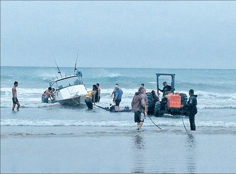 A small fishing boat sunk at Waimarama yesterday when it was submerged by a wave.