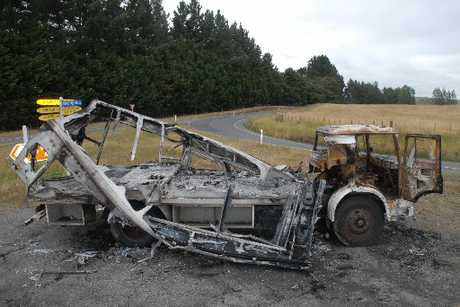 SUSPICIOUS: The charred remains of a Bedford truck which Carterton firefighters discovered ablaze early yesterday on a traffic island at the corner of Kokotau and Millars roads at Ponatahi. Police are treating the fire as suspicious.