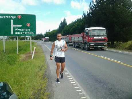 RUN: Former Rotorua man Jamie Milne during his 922km run to raise awareness for Ronald McDonald House.